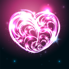 Glowing heart. Vector illustration.