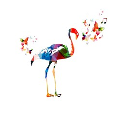 Colorful vector flamingo background
