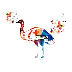 Colorful vector emu background
