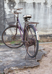 Old bicycle parked.