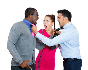 Two young angry Guys fighting over a Girl white background