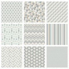 Seamless subtle white geometric hipster background set.