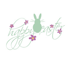 easter bunny, happy easter, handwriting with symbols