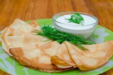 pancakes with dill and sour cream