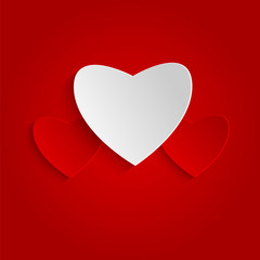 Background Valentine's Day.red and white hearts on red backgroun