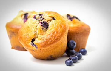 Fototapete - Blueberry muffins isolated on white background