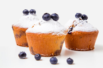 Wall Mural - Blueberry muffins with powdered sugar
