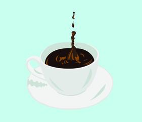 Tasse Kaffee platschen cup of coffee with a splash and drop