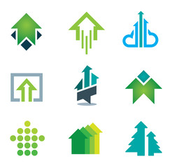 Green arrows logo and icon set