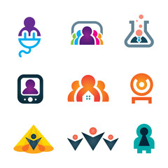 People in objects social media network icon set