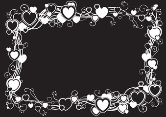 Vector ornate frame with hearts  on black background