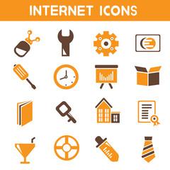 internet icons, web icons, orange color theme icons