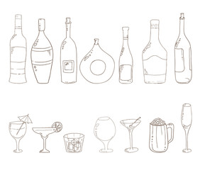 Sketch of wine bottles.