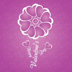 Happy Valentine's Day lettering Greeting Card on pink background
