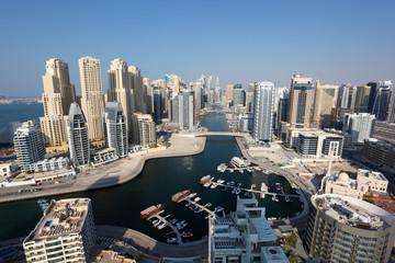 Dubai Marina high angle view. United Arab Emirates