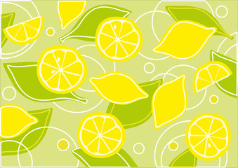 Lemons and green leaves background