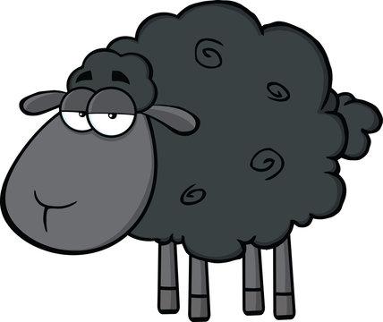 Cute Black Sheep Cartoon Mascot Character