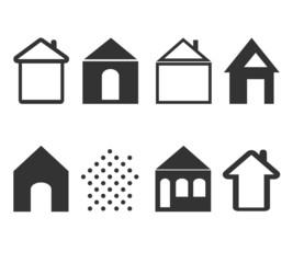 set of black  house icons
