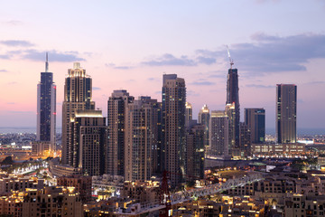 Dubai Downtown at dusk. United Arab Emirates