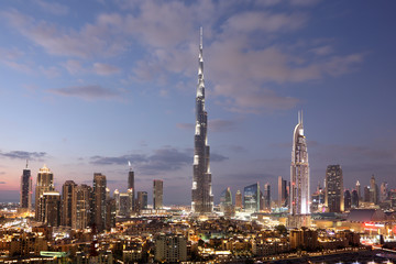 Foto auf Acrylglas Mittlerer Osten Burj Khalifa and Dubai Downtown at dusk. United Arab Emirates