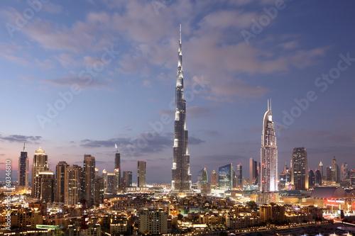 Wall mural Burj Khalifa and Dubai Downtown at dusk. United Arab Emirates