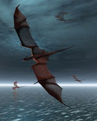 Flight of Red Dragons over the Moonlit Sea