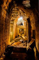 The light tunnel Ta Prohm castle Cambodia
