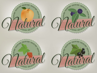 Natural product, healthy food labels. Set of vector elements.