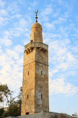 Old minaret in jewish quarter Jerusalem near synagogue