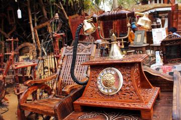 SURJAJKUND FAIR, HARYANA - FEB 12 : antique wooden telephone for