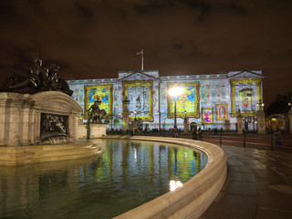 Buckingham Palace projection of portraits