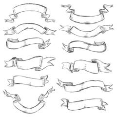 vector set of sketch ribbons