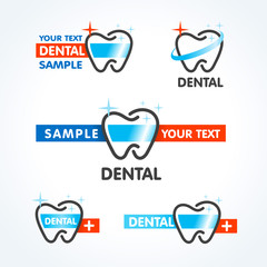 dental tooth symbol sign icons set
