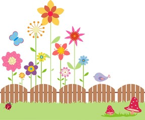 fence and flowers background
