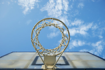 Basketball board with hoop