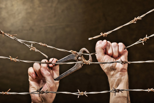 barbed wire with hands