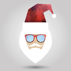 Merry Christmas background with Santa in hipster style