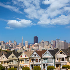 San Francisco Victorian houses in Alamo Square California
