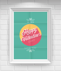 Wall Mural - Valentine`s day Poster. Vector illustration.