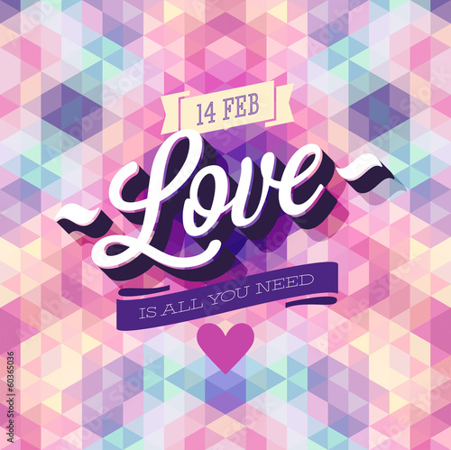 Wall mural Valentine`s day Poster. Vector illustration.
