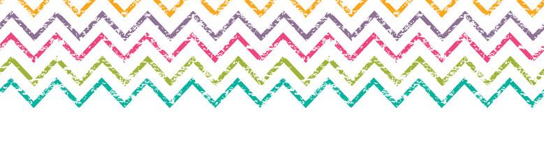 Vector colorful grunge chevron horizontal border seamless