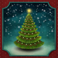 Christmas background with decorated Christmas tree