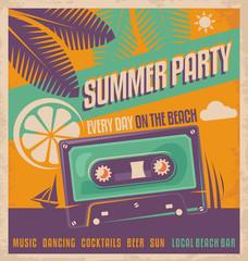 Summer party retro poster vector design