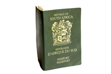 Isolated Photograph of Green South African Passport