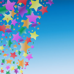 Colorful Floating Stars in the Blue Sky