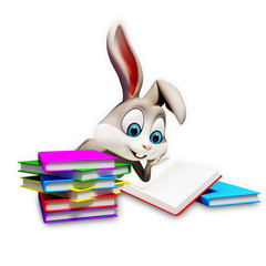 happy bunny with reading a book