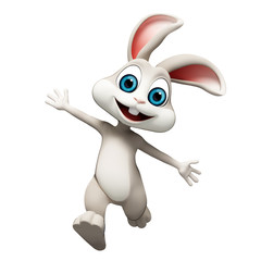 Happy smiling bunny with running
