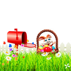 Easter happy bunny with eggs basket and letter box