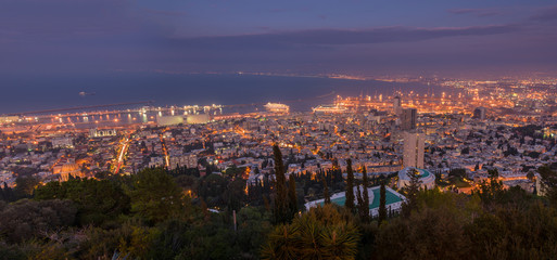 Haifa view at sunset