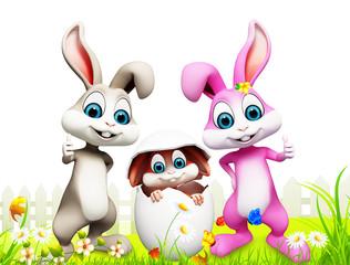 happy bunny inside the egg